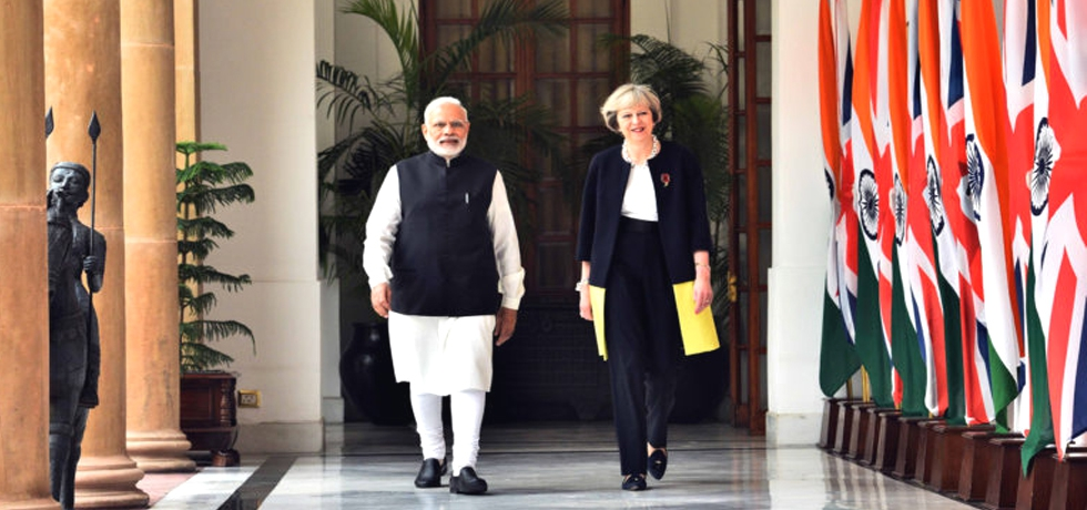 Prime Minister Mr. Narendra Modi with Prime Minister of UK Ms. Theresa May
