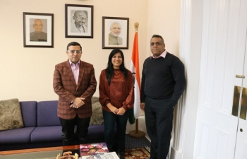 Consul General of India Mr Hitesh Rajpal met with Mr Karthik Subramanya, Board Member of Scottish Enterprise and Creative Scotland and discussed about strengthening trade and investment relations between India and Scotland.