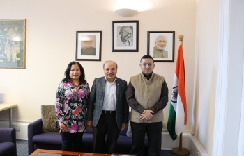 Consul General of India Mr Hitesh Rajpal had fruitful interaction with Dr T Reddy, Highland Indian Association, Inverness, Scotland and his spouse.