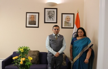 Consul General Mr Hitesh Rajpal welcomed Mrs Sunita Poddar, Trustee of Patanjali Yog Peeth (UK) Trust & CEO, Oakminster Healthcare Ltd during her visit to the Consulate.