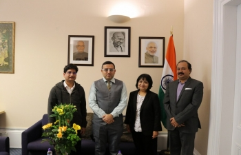 Consul General Mr Hitesh Rajpal welcomed members of the Indian diaspora from Karnataka and discussed their cultural contribution in Scotland, Uk. Thanks to Dr Kranti Hiremath, Forensic Physician at FIFE Constabulary, Mr Sanjeev Kulkarni, TCS, and Mr Santosh Kumar Mutalik, TCS.