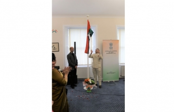 71st Republic Day was celebrated enthusiastically in the Consulate General of India, Edinburgh today. The Consul General hoisted the national flag in the Consulate premises delivered his remarks and read the President's Address to the Nation. The ceremony was attended inter-alia by the local Indian community, Indian students, Friends of India and Consulate officials. On this occasion, patriotic cultural programs were presented by the local Indian community including children and staff members of the Consulate. This was followed by Indian refreshments. Tea tasting of three varieties of tea, viz., Darjeeling, Assam and Nilgiri were also organized and received positively.
