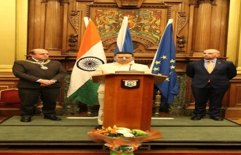 71st Republic Day of India was celebrated on 26th January by the Consulate General of India at City Chambers, Edinburgh. Mr Ben Macpherson MSP & Minister for Europe, Migration and International Development in the Scottish Government was the Chief Guest. Rt. Hon. Frank Ross, Lord Provost of the City of Edinburgh, Provosts of other cities, Members of Parliament were among the dignitaries. Consul General Mr Hitesh Rajpal conveyed his greetings and spoke about the Republic Day and India-Scotland relationship. Thanks to Minister Ben Macpherson and Lord Provost Rt. Hon. Frank Ross for their remarks. Speeches were followed by cultural performance and sumptuous Indian food.