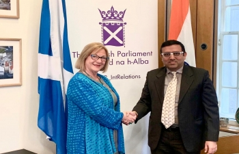 Consul General Hitesh Rajpal called on Deputy Presiding Officer of Scottish Parliament Ms Linda Fabiani MSP at The Scottish Parliament to discuss various bilateral avenues for further strengthening relations between India and Scotland.