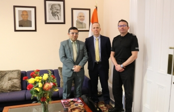 Consul General Mr Hitesh Rajpal had fruitful interaction with Mr Gary Ritchie, Assistant Chief Constable & Mr Duncan, Criminal Support Unit of Scotland Police and discussed various issues of bilateral cooperation.
