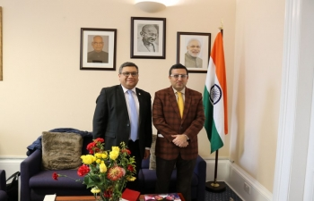 Consul General Mr Hitesh Rajpal had a productive interaction with Mr Param Shah, Director,Federation of Indian Chambers of Commerce & Industry (FICCI) for boosting trade & investment linkages between India & Scotland.