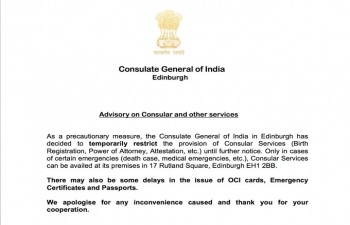 Advisory on Consular and other services.