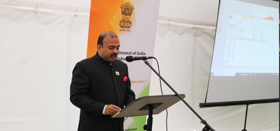 Consul General Mr. Bijay Selvaraj hoisted the National Flag & read out the address of Hon'ble President of India on the occasion of 75th Independence Day of India